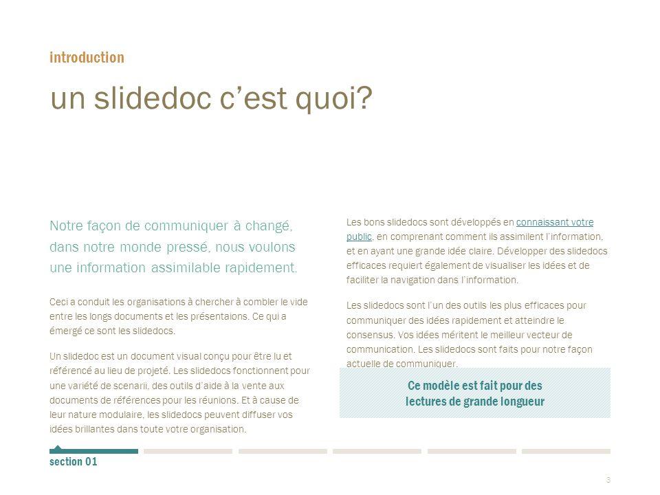 4 les slidedocs sont comme des livres  Les Slidedocs empruntent certains éléments de designs aux livres.
