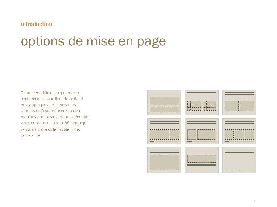 5 options de mise en page  Chaque modèle est segmenté en sections qui accueillent du texte et des graphiques. Il y a plusieurs formats déjà pré-défin