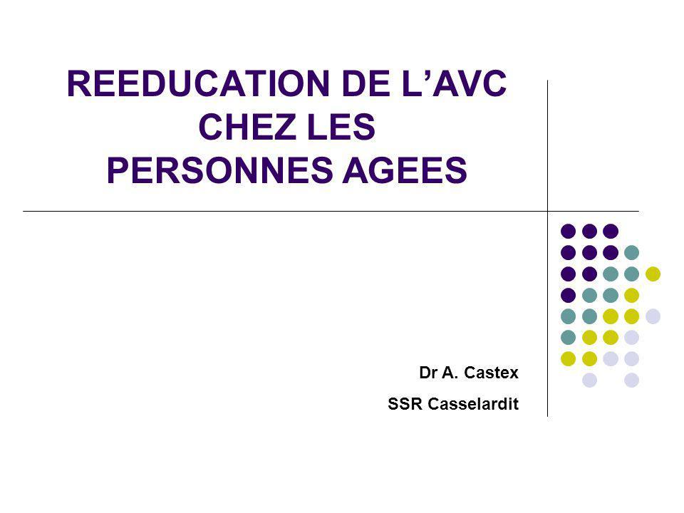 REEDUCATION DE L'AVC CHEZ LES PERSONNES AGEES Dr A. Castex SSR Casselardit