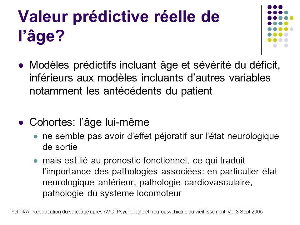 Valeur prédictive réelle de l'âge? Modèles prédictifs incluant âge et sévérité du déficit, inférieurs aux modèles incluants d'autres variables notamme