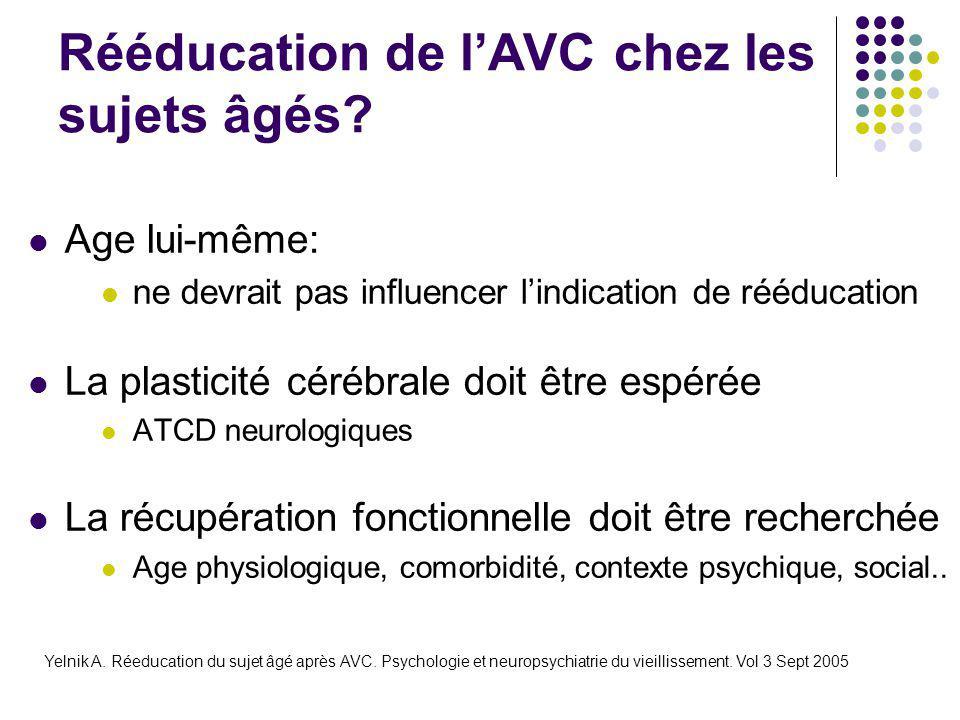 Rééducation de l'AVC chez les sujets âgés? Age lui-même: ne devrait pas influencer l'indication de rééducation La plasticité cérébrale doit être espér
