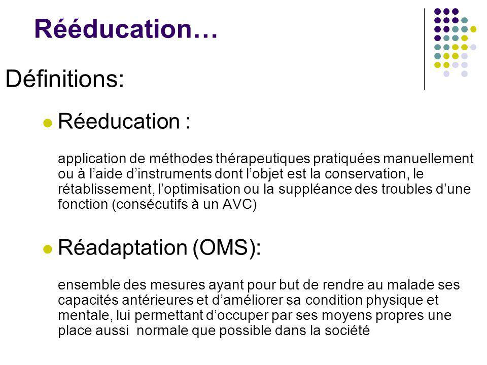 Rééducation… Définitions: Réeducation : application de méthodes thérapeutiques pratiquées manuellement ou à l'aide d'instruments dont l'objet est la c