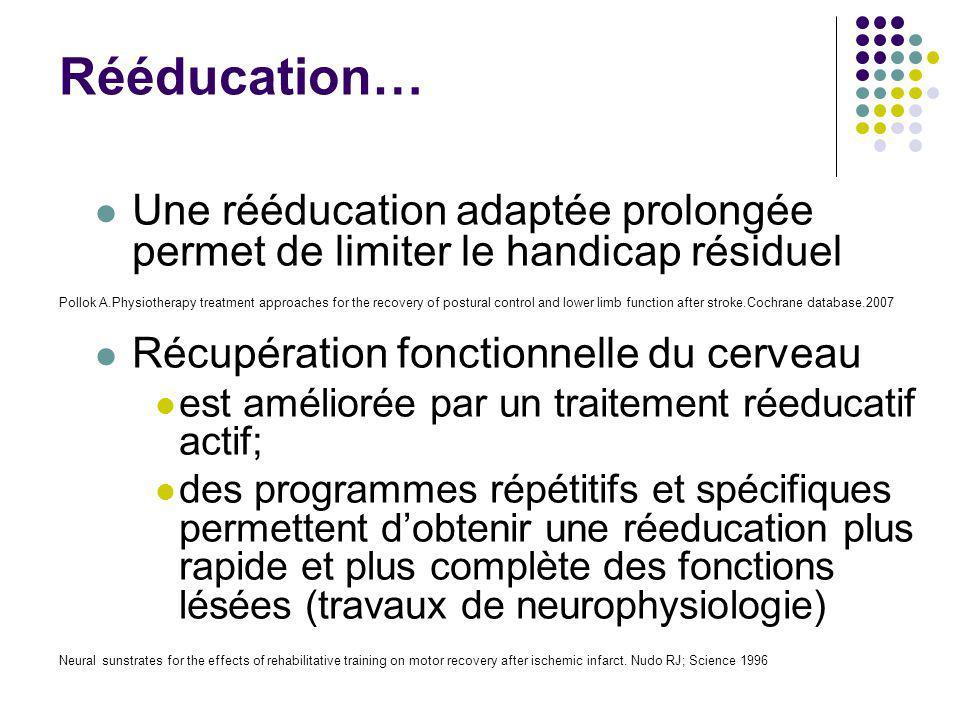 Rééducation… Une rééducation adaptée prolongée permet de limiter le handicap résiduel Récupération fonctionnelle du cerveau est améliorée par un trait