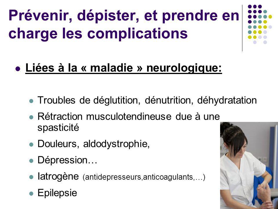 Prévenir, dépister, et prendre en charge les complications Liées à la « maladie » neurologique: Troubles de déglutition, dénutrition, déhydratation Ré