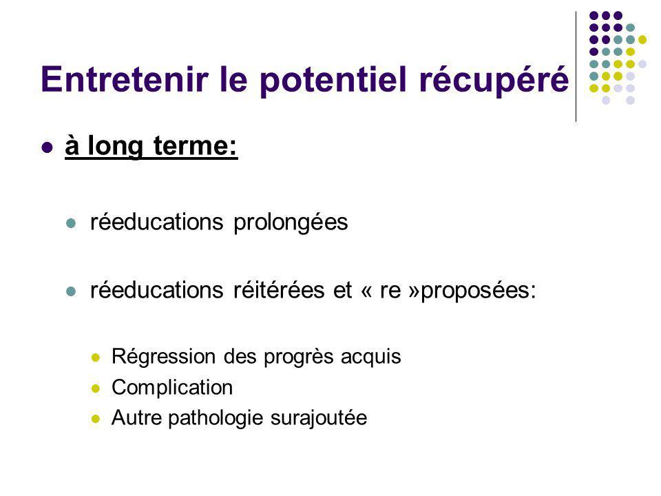 Entretenir le potentiel récupéré à long terme: réeducations prolongées réeducations réitérées et « re »proposées: Régression des progrès acquis Compli
