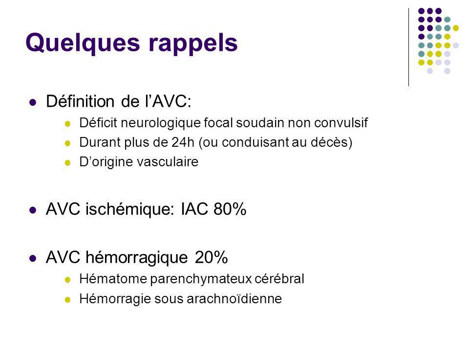 Quelques rappels Définition de l'AVC: Déficit neurologique focal soudain non convulsif Durant plus de 24h (ou conduisant au décès) D'origine vasculair