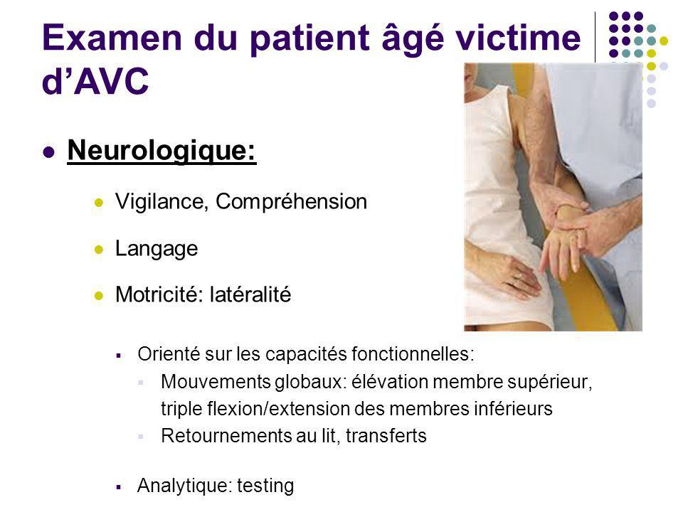 Examen du patient âgé victime d'AVC Neurologique: Vigilance, Compréhension Langage Motricité: latéralité  Orienté sur les capacités fonctionnelles: 