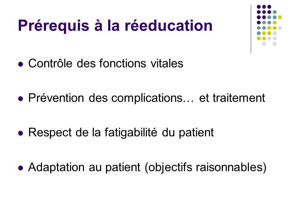 Prérequis à la réeducation Contrôle des fonctions vitales Prévention des complications… et traitement Respect de la fatigabilité du patient Adaptation
