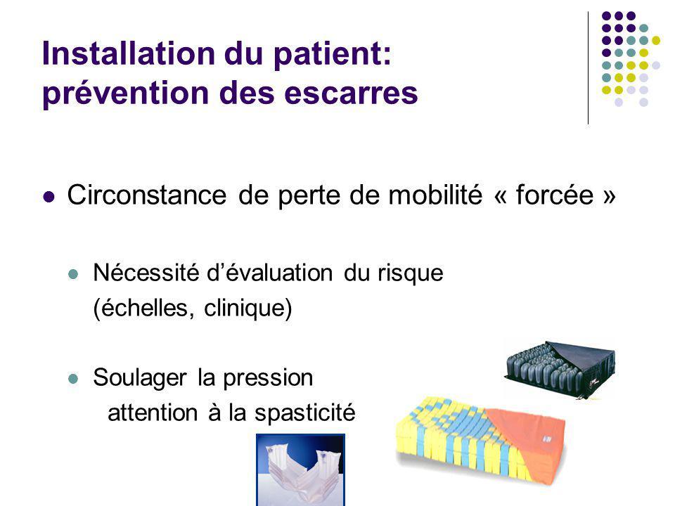 Installation du patient: prévention des escarres Circonstance de perte de mobilité « forcée » Nécessité d'évaluation du risque (échelles, clinique) So