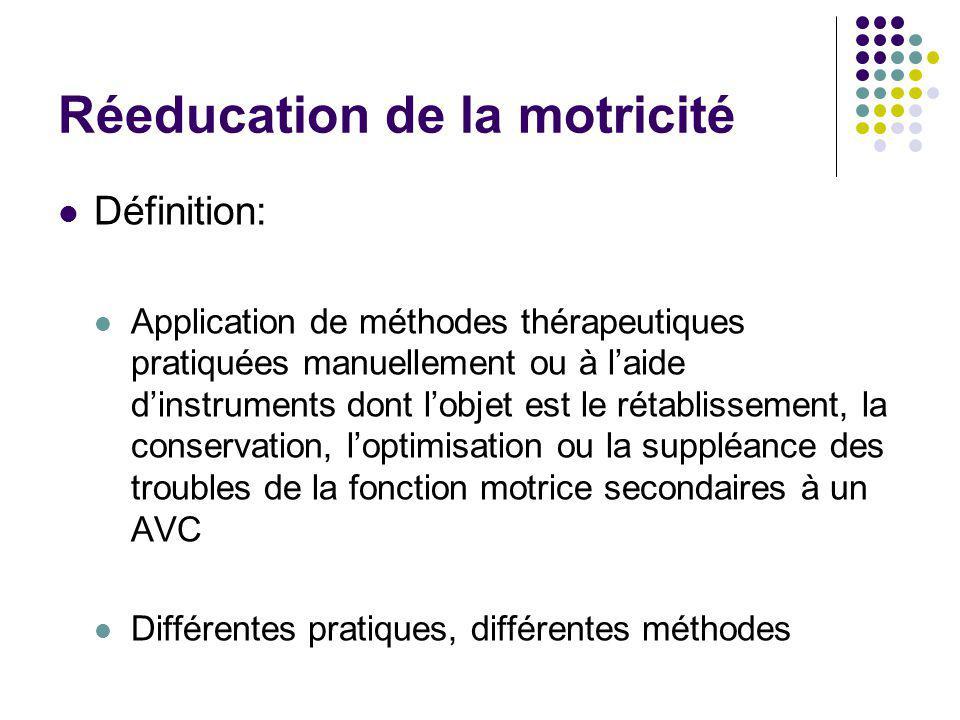 Réeducation de la motricité Définition: Application de méthodes thérapeutiques pratiquées manuellement ou à l'aide d'instruments dont l'objet est le r