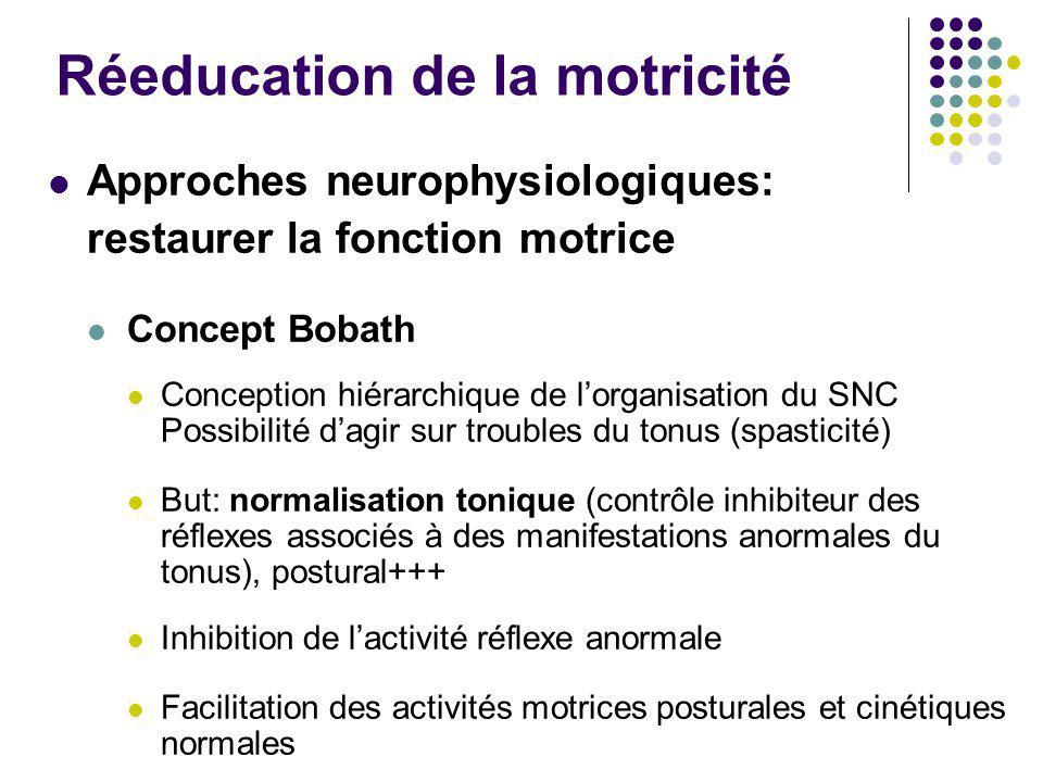 Réeducation de la motricité Approches neurophysiologiques: restaurer la fonction motrice Concept Bobath Conception hiérarchique de l'organisation du S