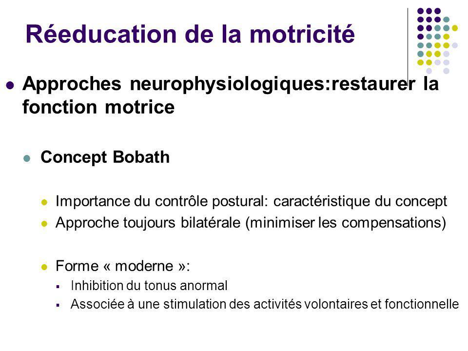 Réeducation de la motricité Approches neurophysiologiques:restaurer la fonction motrice Concept Bobath Importance du contrôle postural: caractéristiqu