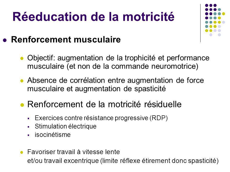 Réeducation de la motricité Renforcement musculaire Objectif: augmentation de la trophicité et performance musculaire (et non de la commande neuromotr