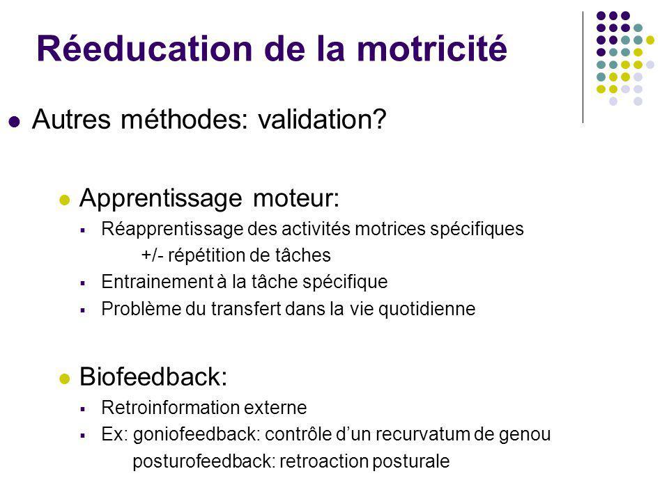 Réeducation de la motricité Autres méthodes: validation? Apprentissage moteur:  Réapprentissage des activités motrices spécifiques +/- répétition de