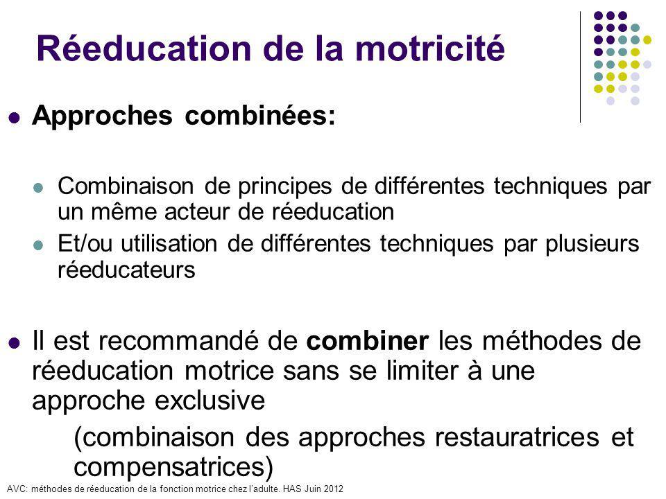Réeducation de la motricité Approches combinées: Combinaison de principes de différentes techniques par un même acteur de réeducation Et/ou utilisatio