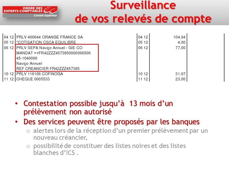 Surveillance de vos relevés de compte Contestation possible jusqu'à 13 mois d'un prélèvement non autorisé Contestation possible jusqu'à 13 mois d'un p