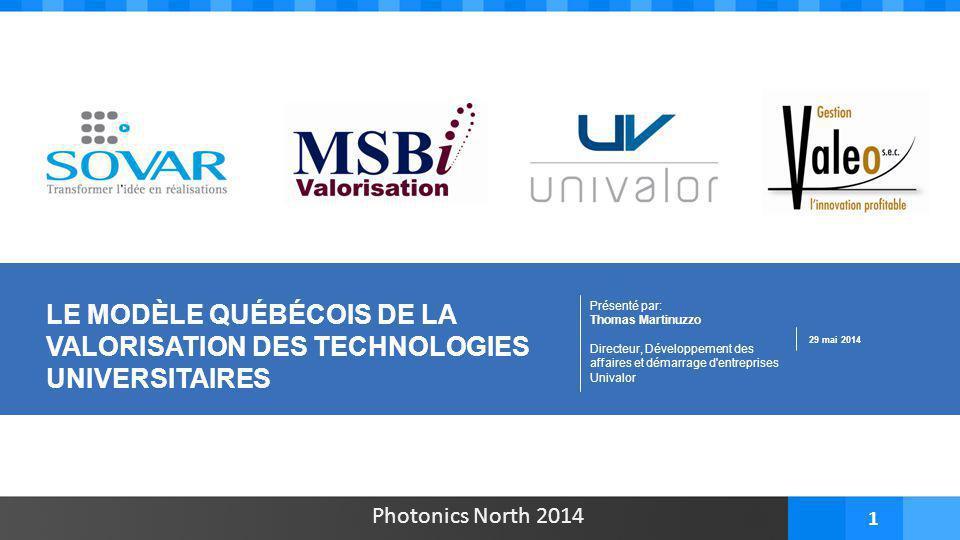 Photonics North 2014 1 Présenté par: Thomas Martinuzzo Directeur, Développement des affaires et démarrage d'entreprises Univalor 29 mai 2014 LE MODÈLE