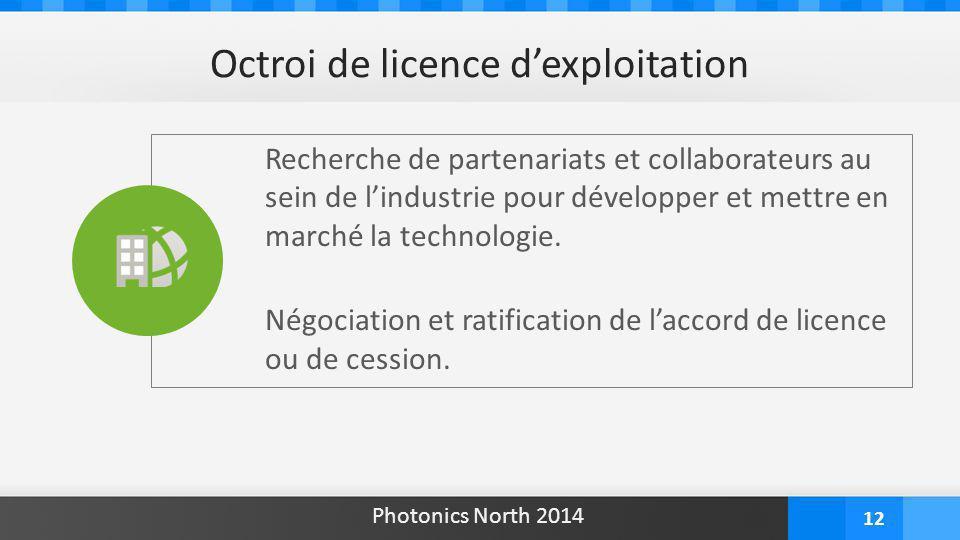 12 Recherche de partenariats et collaborateurs au sein de l'industrie pour développer et mettre en marché la technologie. Négociation et ratification