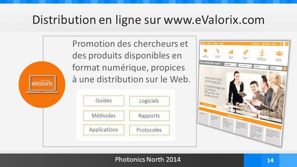 14 Distribution en ligne sur www.eValorix.com Promotion des chercheurs et des produits disponibles en format numérique, propices à une distribution su