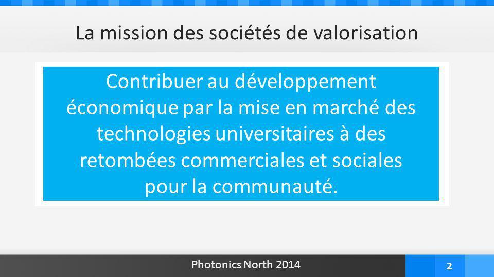 2 La mission des sociétés de valorisation Contribuer au développement économique par la mise en marché des technologies universitaires à des retombées commerciales et sociales pour la communauté.