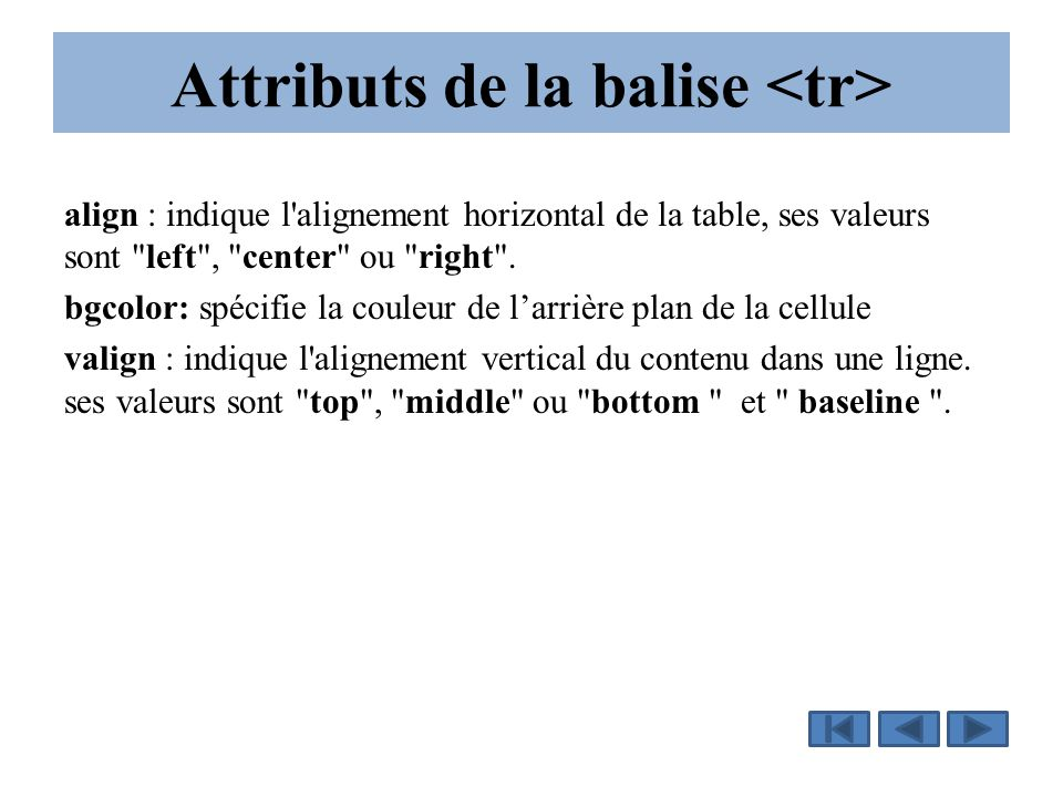 Attributs de la balise align : indique l alignement horizontal de la table, ses valeurs sont left , center ou right .