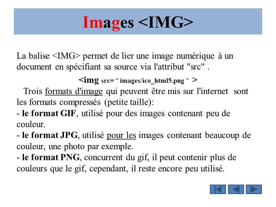 Images La balise permet de lier une image numérique à un document en spécifiant sa source via l attribut src .