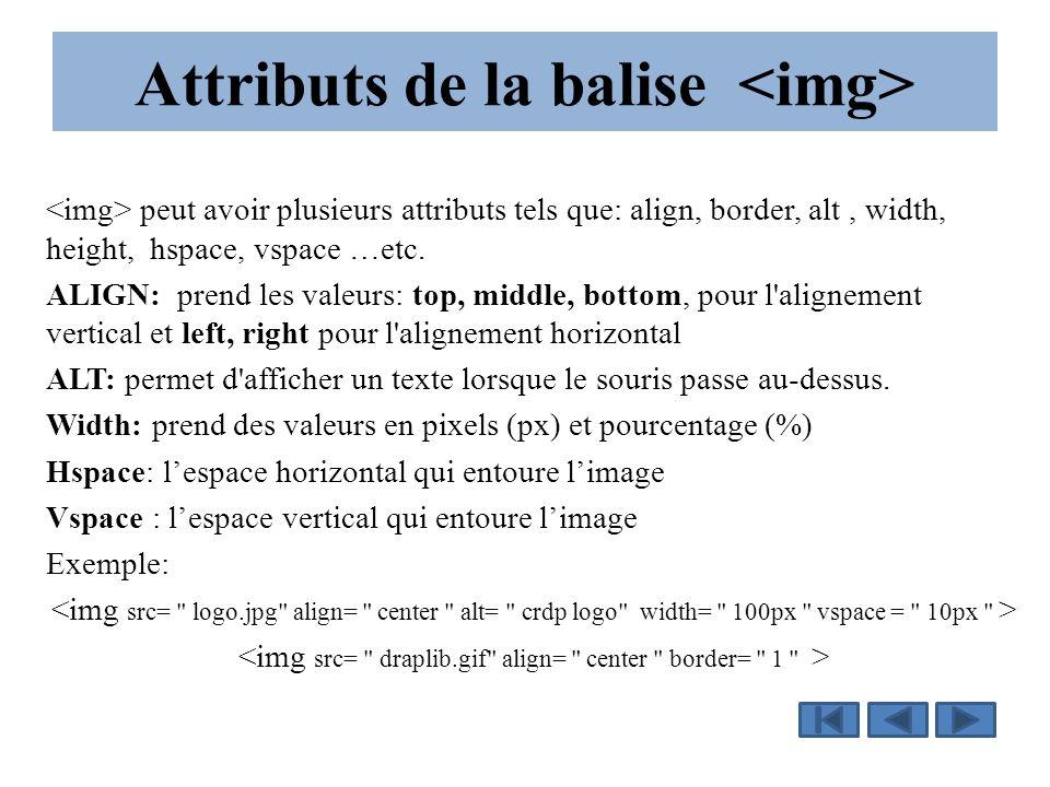 Attributs de la balise peut avoir plusieurs attributs tels que: align, border, alt, width, height, hspace, vspace …etc.