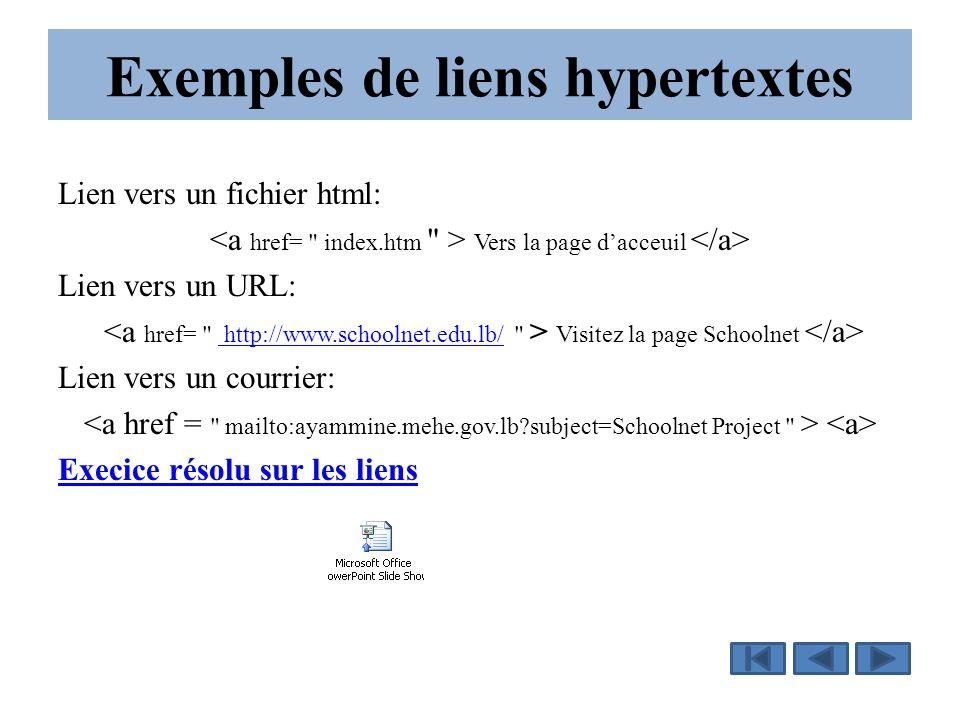 Exemples de liens hypertextes Lien vers un fichier html: Vers la page d'acceuil Lien vers un URL: Visitez la page Schoolnet http://www.schoolnet.edu.lb/ Lien vers un courrier: Execice résolu sur les liens