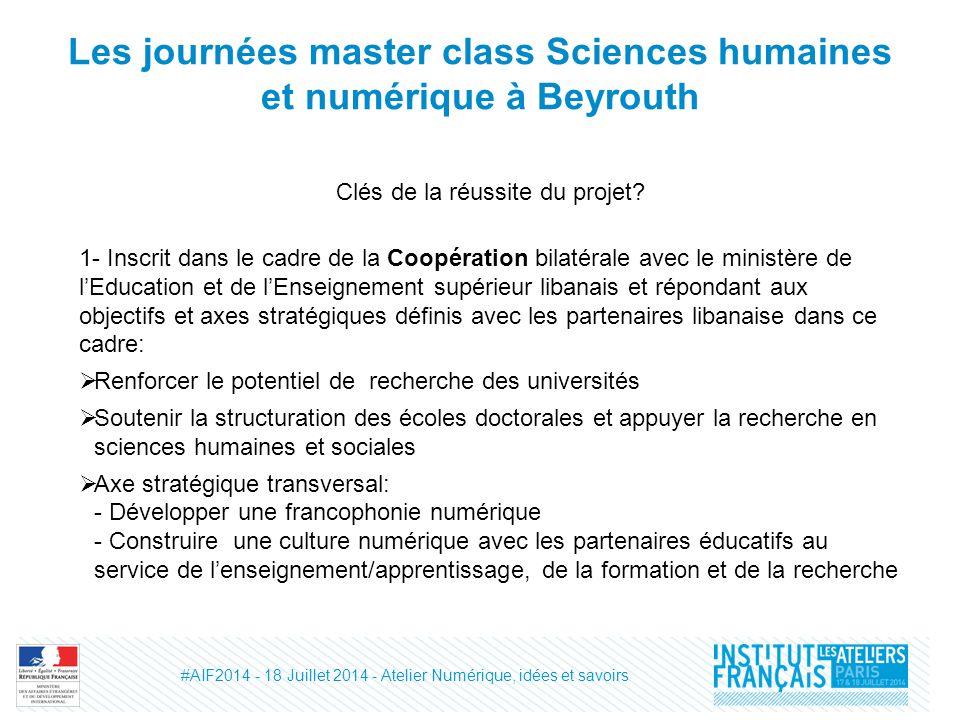 Les journées master class Sciences humaines et numérique à Beyrouth Clés de la réussite du projet.