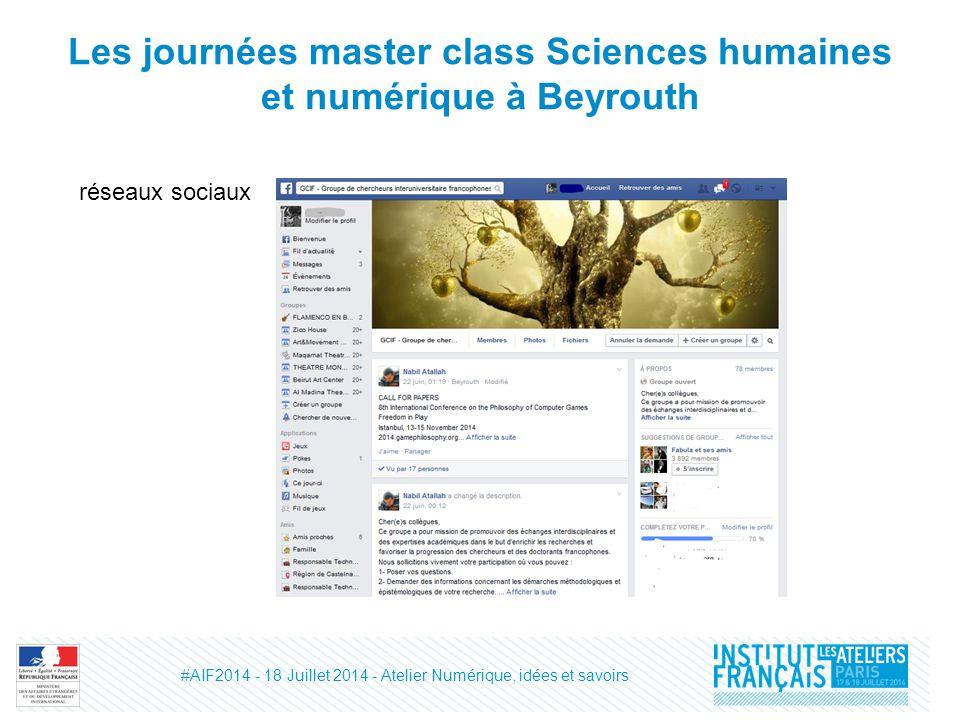 Les journées master class Sciences humaines et numérique à Beyrouth réseaux sociaux #AIF2014 - 18 Juillet 2014 - Atelier Numérique, idées et savoirs