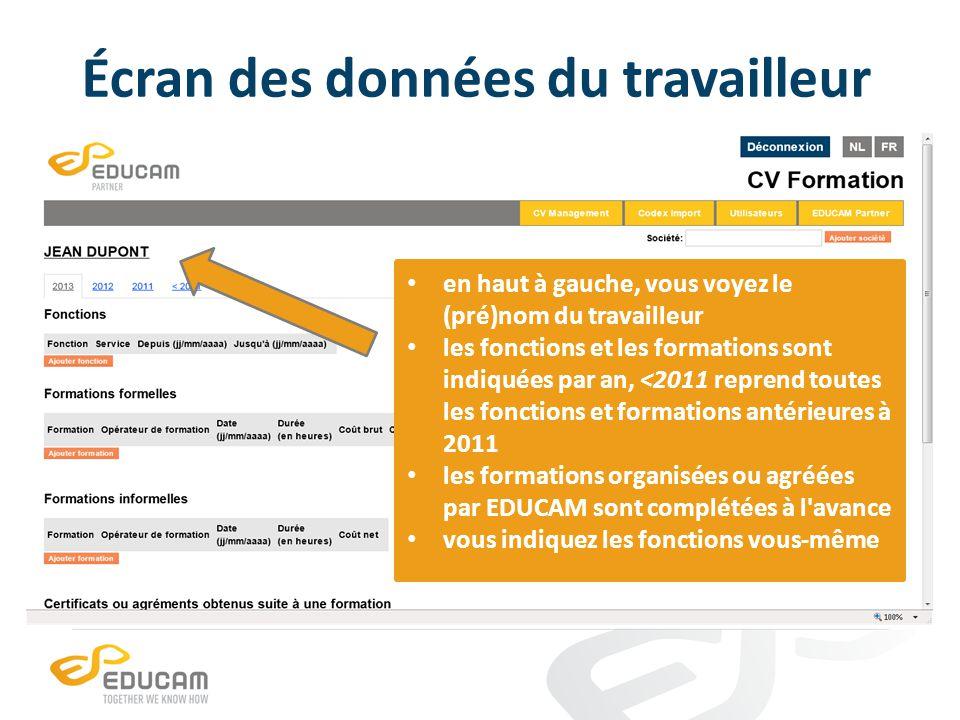 Écran des données du travailleur en haut à gauche, vous voyez le (pré)nom du travailleur les fonctions et les formations sont indiquées par an, <2011