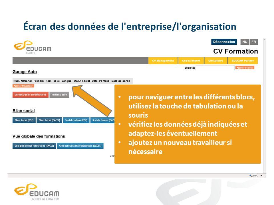Écran des données de l'entreprise/l'organisation pour naviguer entre les différents blocs, utilisez la touche de tabulation ou la souris vérifiez les