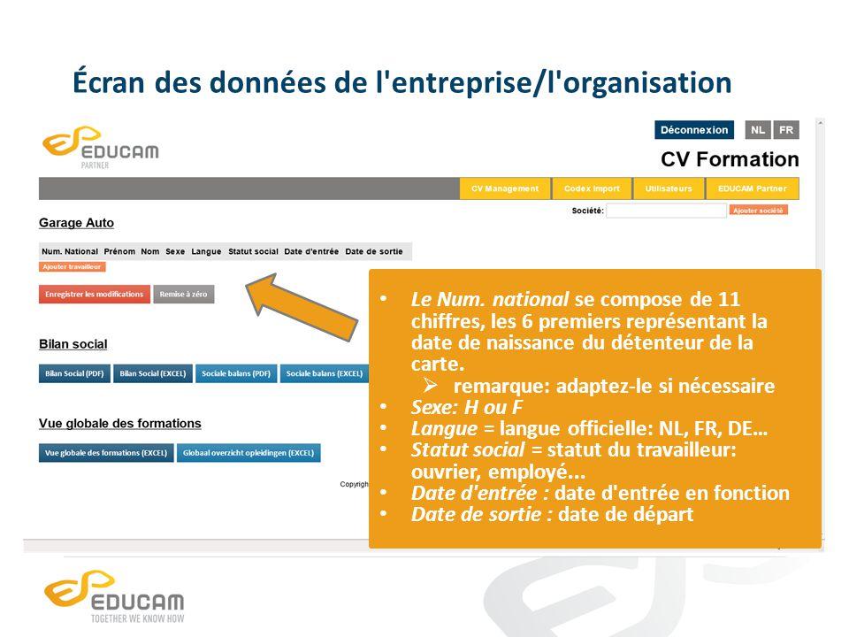 Écran des données de l'entreprise/l'organisation Le Num. national se compose de 11 chiffres, les 6 premiers représentant la date de naissance du déten