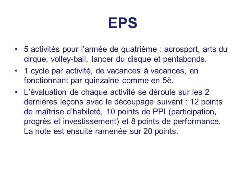 EPS 5 activités pour l'année de quatrième : acrosport, arts du cirque, volley-ball, lancer du disque et pentabonds. 1 cycle par activité, de vacances