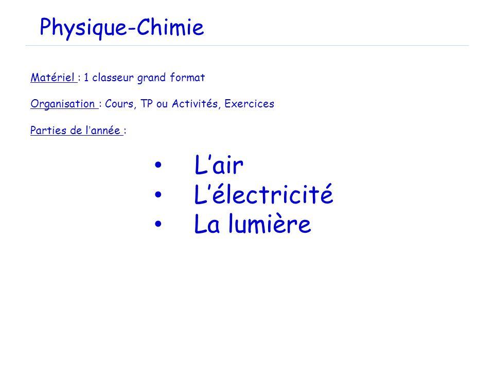 Physique-Chimie Matériel : 1 classeur grand format Organisation : Cours, TP ou Activités, Exercices Parties de l'année : L'air L'électricité La lumièr