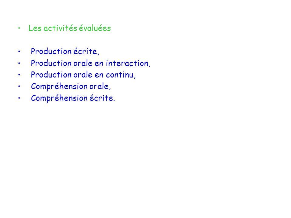 Les activités évaluées Production écrite, Production orale en interaction, Production orale en continu, Compréhension orale, Compréhension écrite.