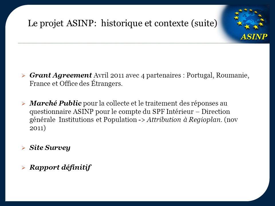 Le projet ASINP: historique et contexte (suite)  Grant Agreement Avril 2011 avec 4 partenaires : Portugal, Roumanie, France et Office des Étrangers.