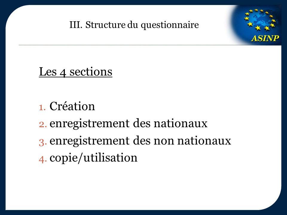 III. Structure du questionnaire Les 4 sections 1. Création 2. enregistrement des nationaux 3. enregistrement des non nationaux 4. copie/utilisation