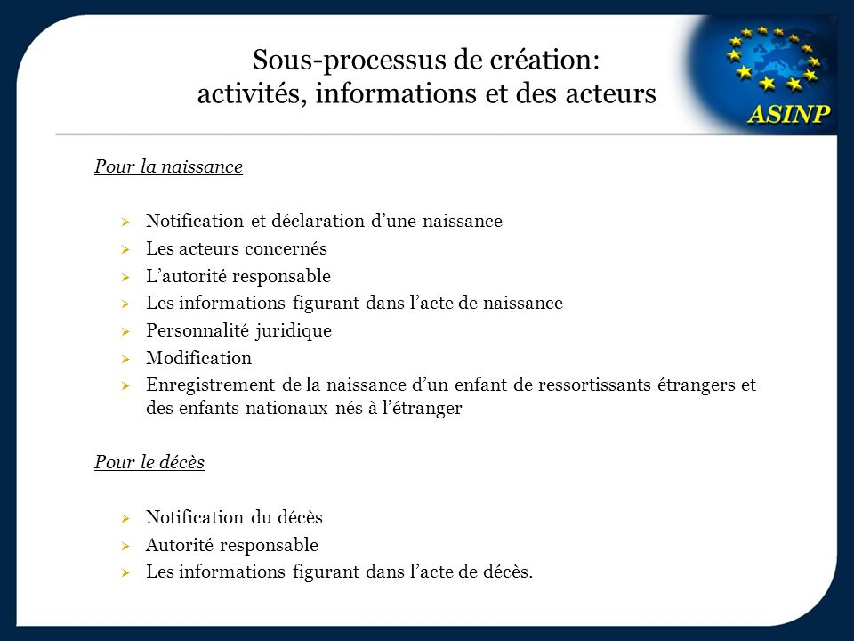 Sous-processus de création: activités, informations et des acteurs Pour la naissance  Notification et déclaration d'une naissance  Les acteurs conce