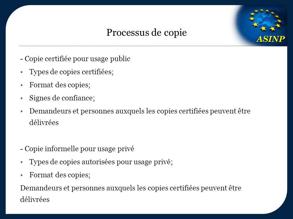- Copie certifiée pour usage public Types de copies certifiées; Format des copies; Signes de confiance; Demandeurs et personnes auxquels les copies certifiées peuvent être délivrées - Copie informelle pour usage privé Types de copies autorisées pour usage privé; Format des copies; Demandeurs et personnes auxquels les copies certifiées peuvent être délivrées