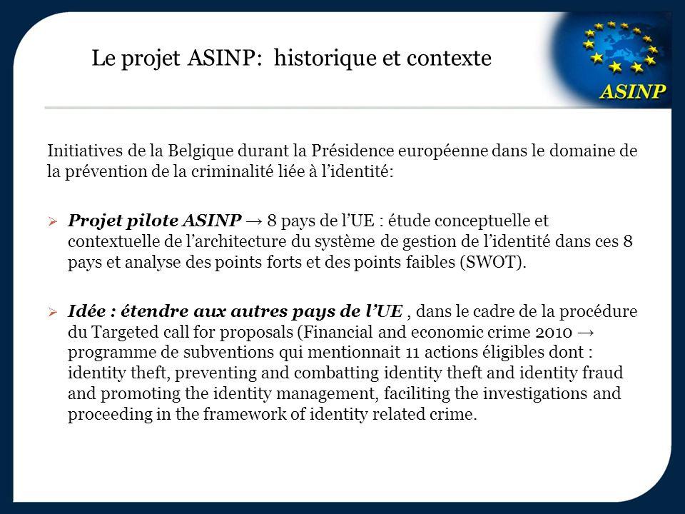 Le projet ASINP: historique et contexte Initiatives de la Belgique durant la Présidence européenne dans le domaine de la prévention de la criminalité