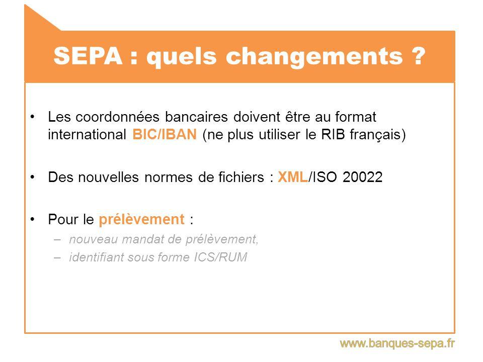 SEPA : quels changements ? Les coordonnées bancaires doivent être au format international BIC/IBAN (ne plus utiliser le RIB français) Des nouvelles no