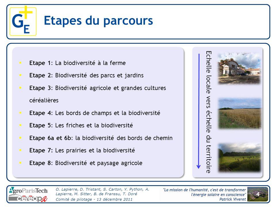 4 O. Lapierre, D. Tristant, S. Carton, Y. Python, A. Lapierre, M. Sitter, B. de Franssu, T. Doré Comité de pilotage - 13 décembre 2011 Etapes du parco