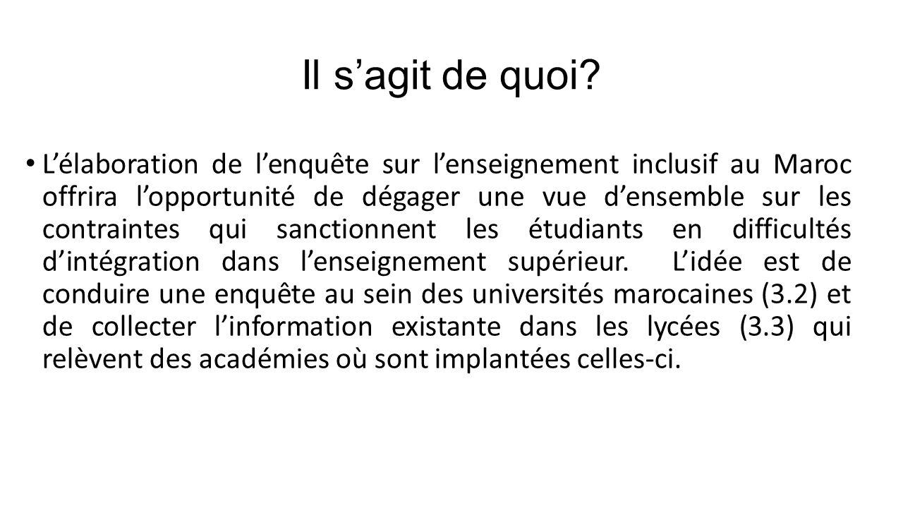 3.1.Questionnaires. 3.2. Enquête: Inclusion dans les universités marocaines 3.3.