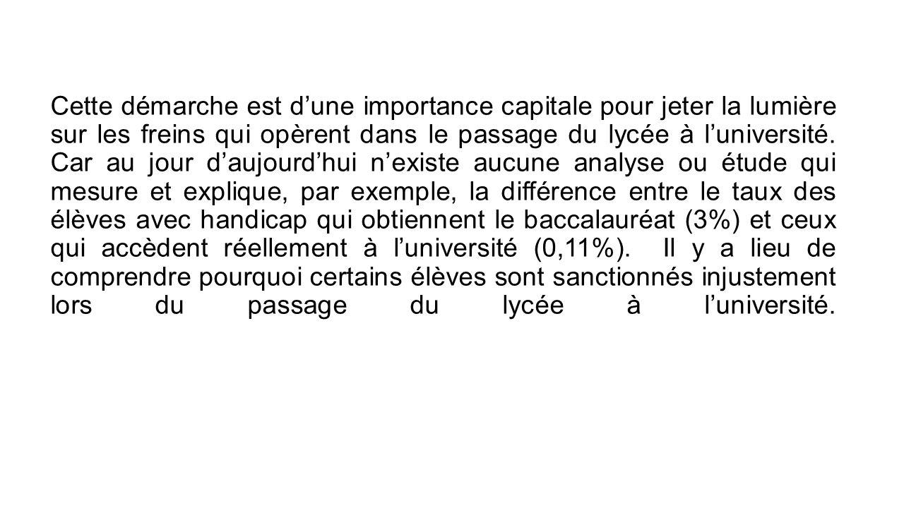 Des questionnaires (3.1) aideront à collecter les informations concernant les 4 groupes cibles et recouper les données qui se trouvent dans l'ensemble des établissements de l'enseignement supérieur au Maroc, chose qui n'existe pas également de nos jours.