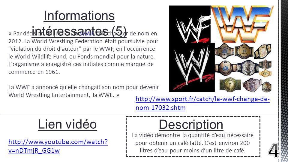 « Par décision de justice, la WWF doit changer de nom en 2012. La World Wrestling Federation était poursuivie pour