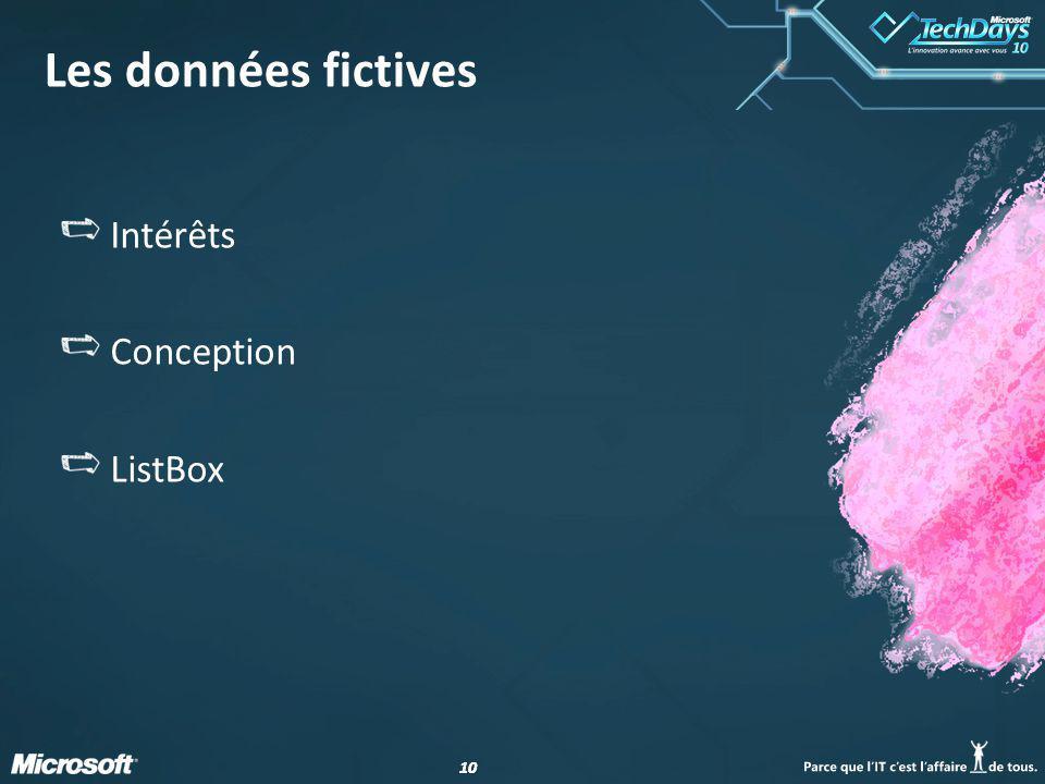 10 Les données fictives Intérêts Conception ListBox