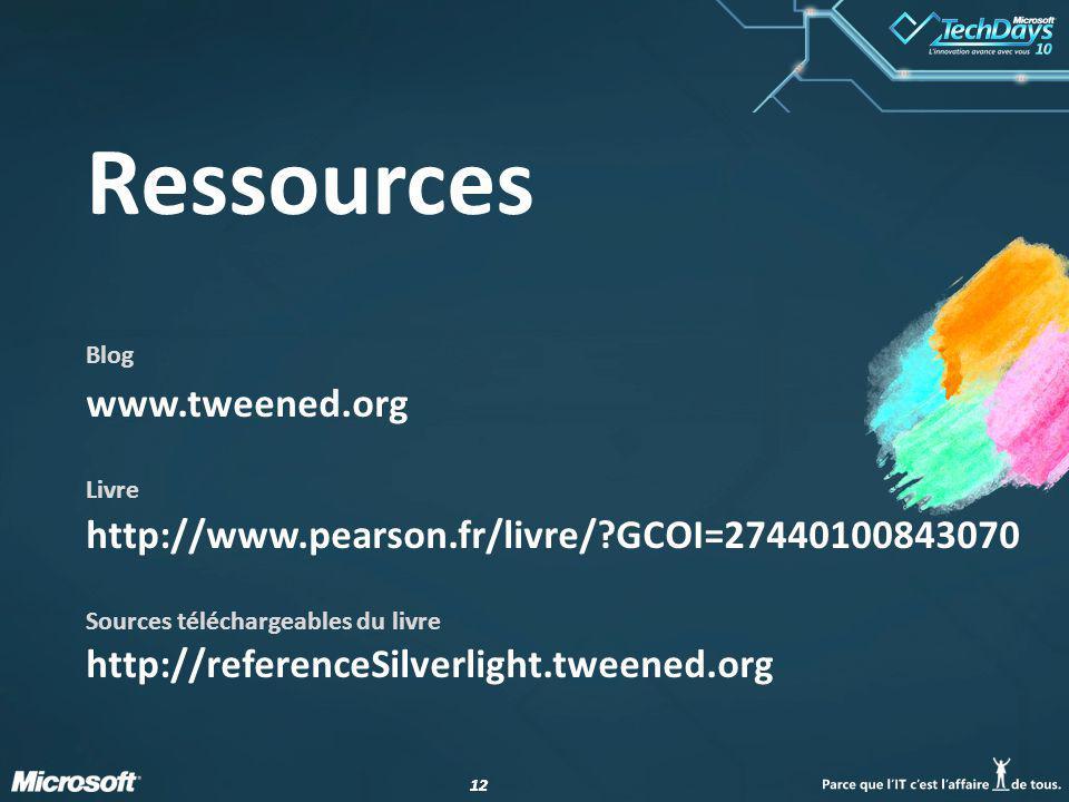 12 Ressources Blog www.tweened.org Livre http://www.pearson.fr/livre/?GCOI=27440100843070 Sources téléchargeables du livre http://referenceSilverlight