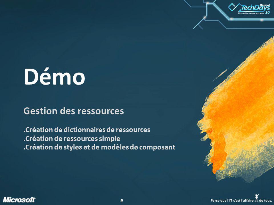 99 Démo Gestion des ressources.Création de dictionnaires de ressources.Création de ressources simple.Création de styles et de modèles de composant