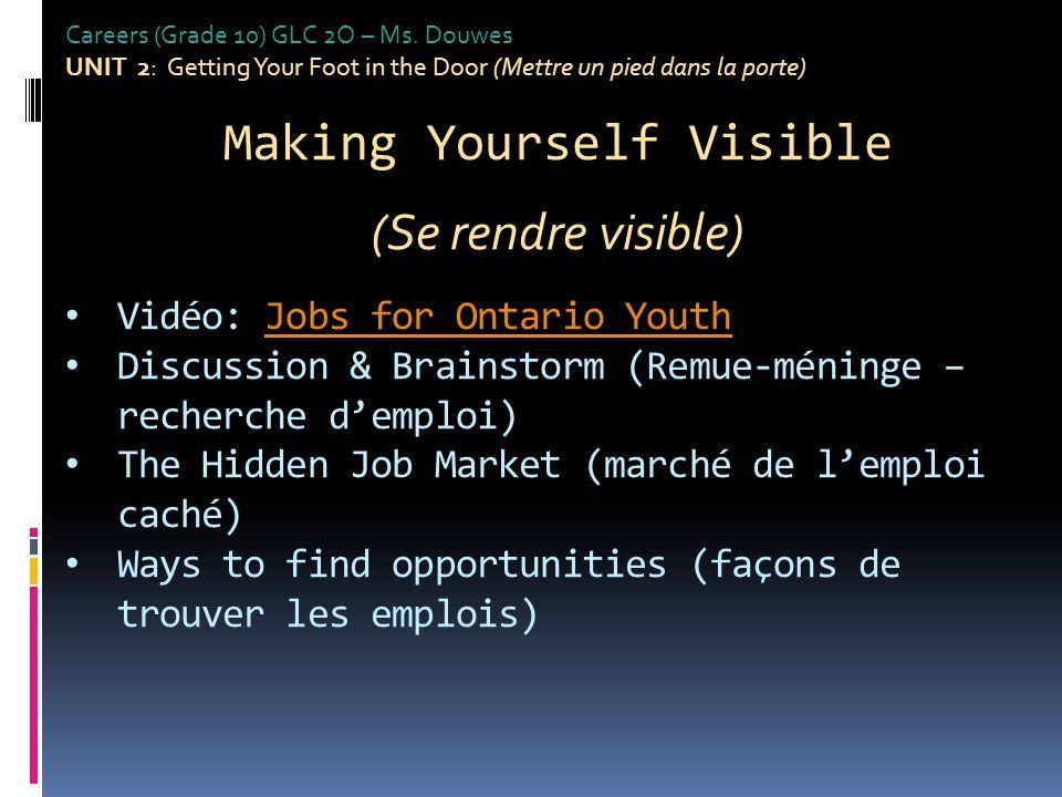 Brainstorm Job Search Strategies... Remue-méninge: strategies de recherche d'emploi